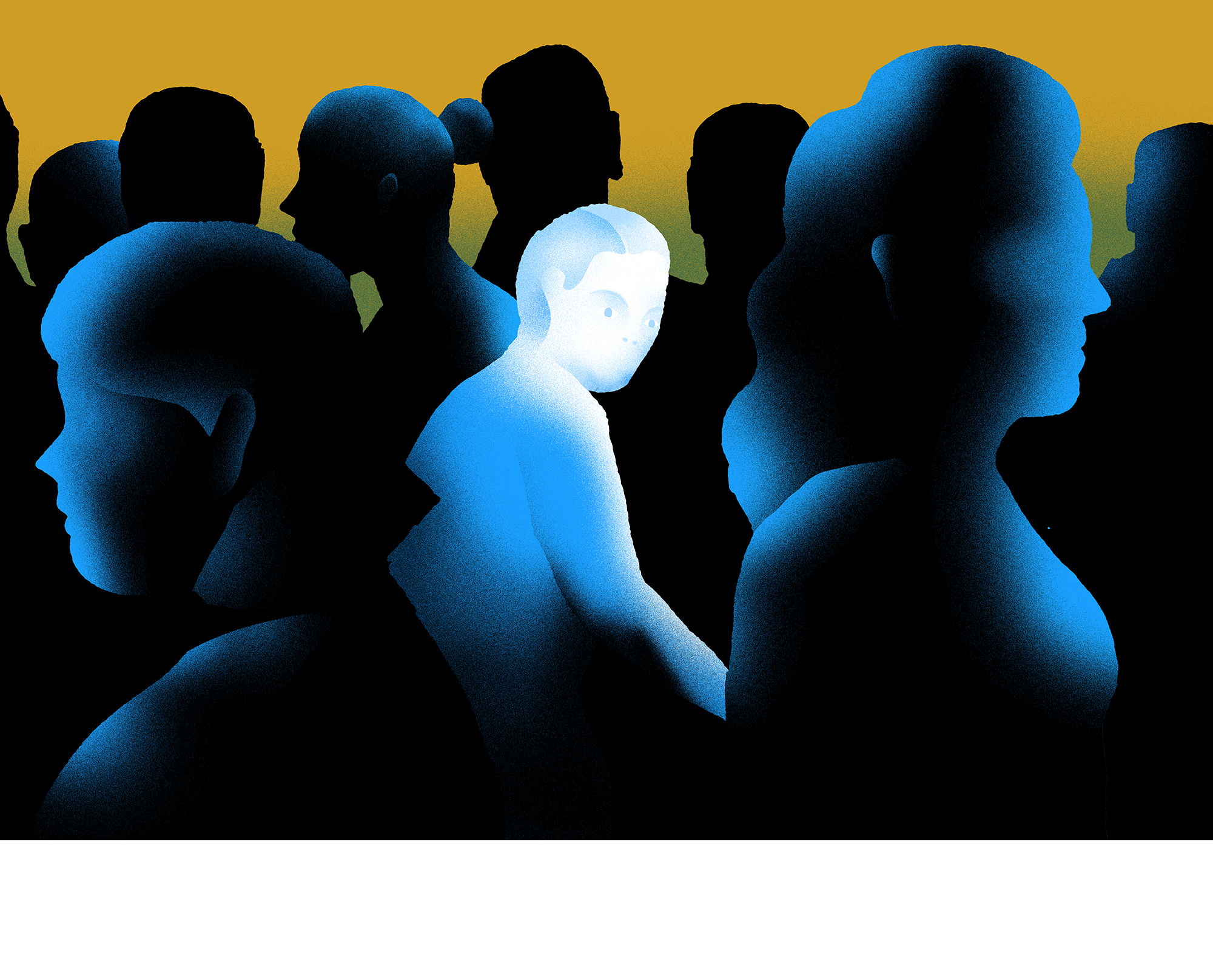 Illustration: a white-highlighted person looks suspiciously at the crowd around him, who are in shadow.