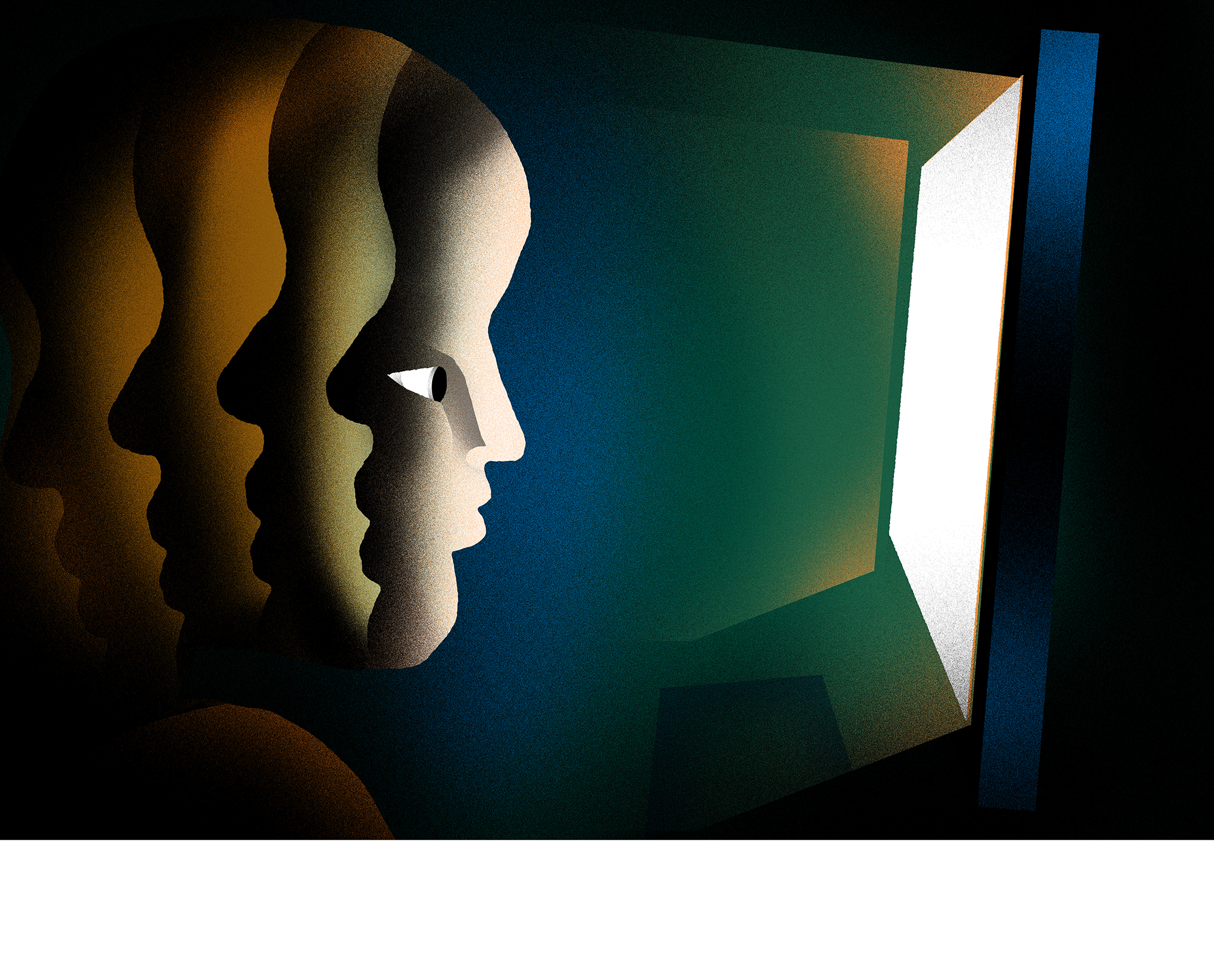 Illustration: A person in shadow looks into a bright computer screen. The mood is ominous.