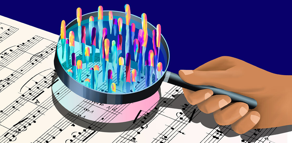 color rises up out of sheet music