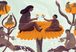 A mother and child interact on a giant flower while social workers tend the garden around them