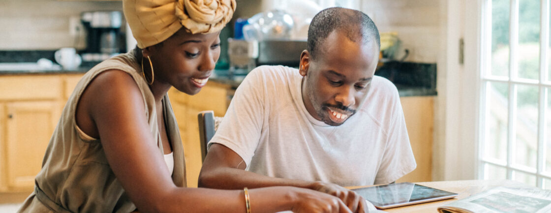 Portrait of siblings Michelle and Mark Byamugisha