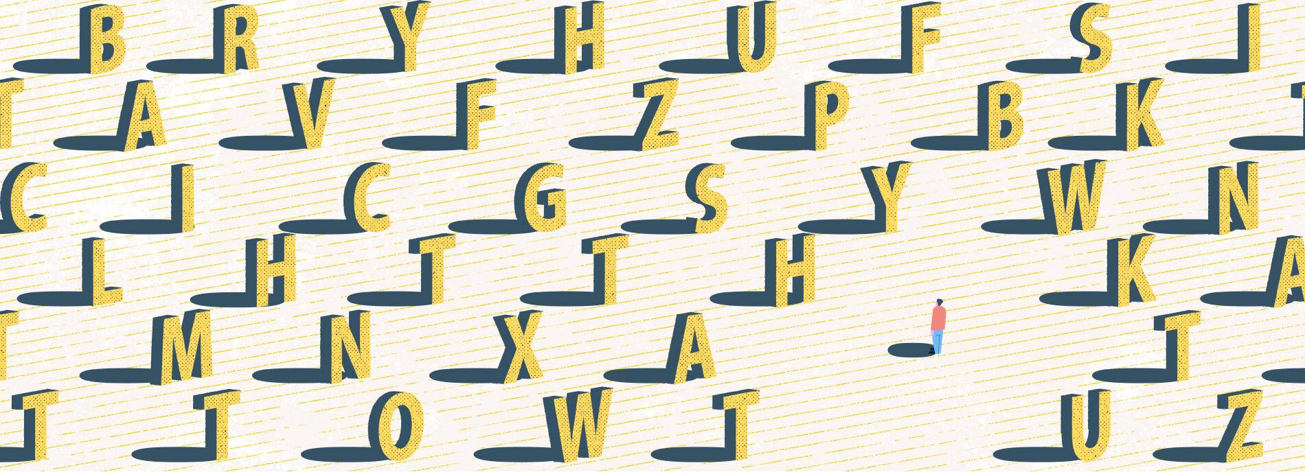 lone figure is dwarfed by field of letters