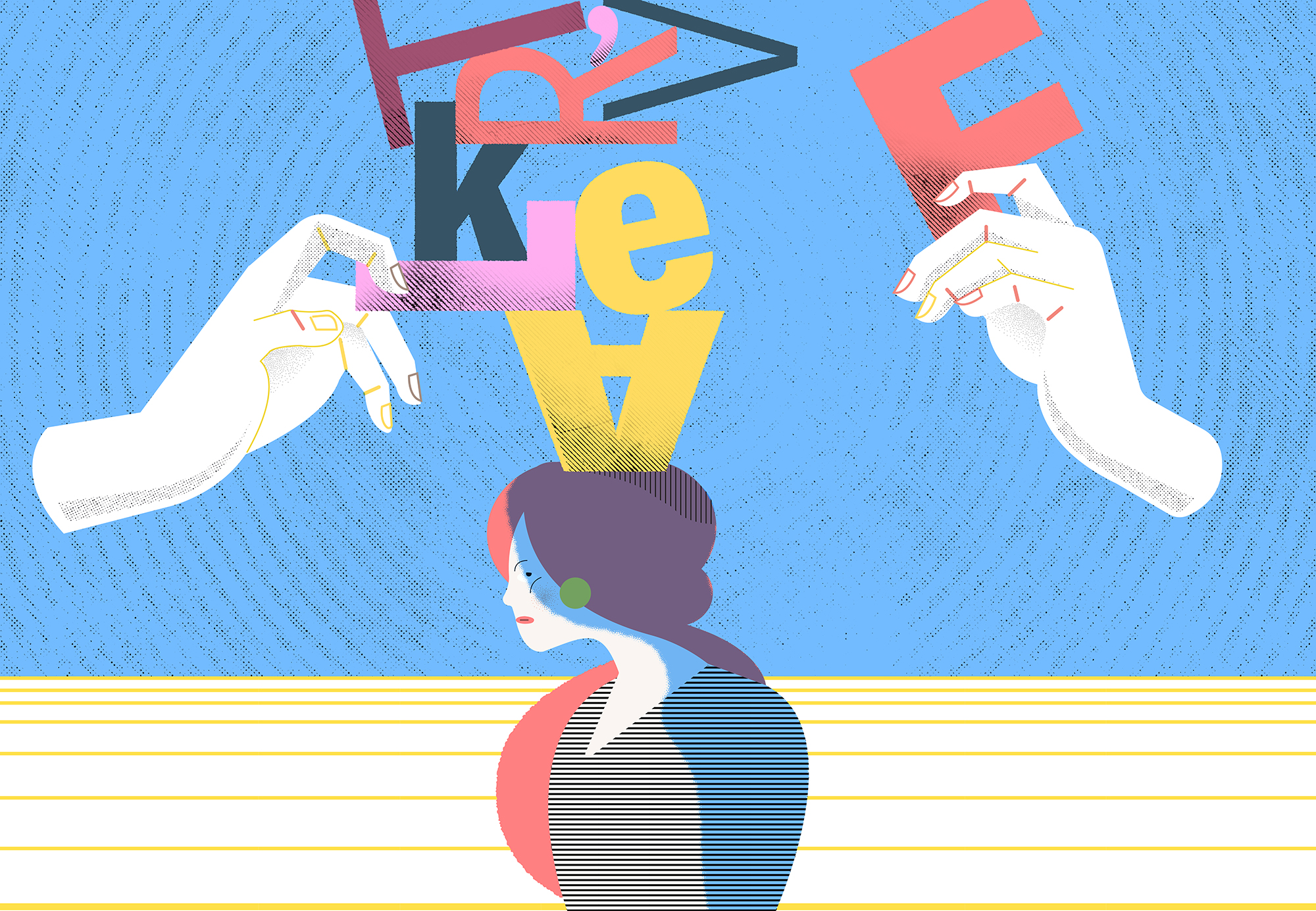 Illustration shows floating hands stacking letters on a woman's head.
