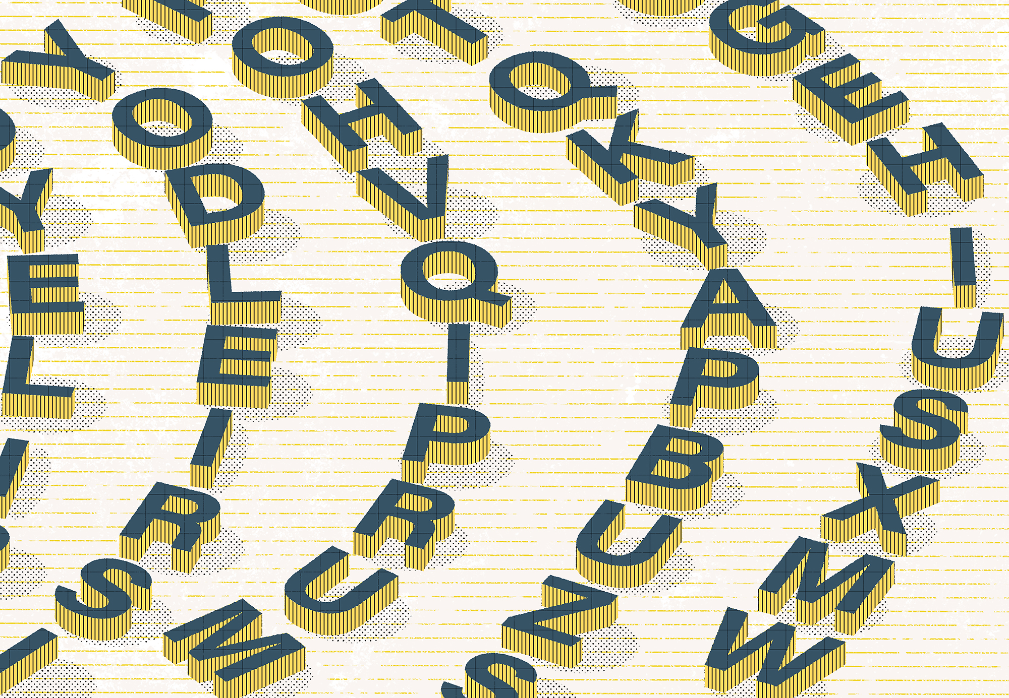 Illustration shows curved rows of different letters.