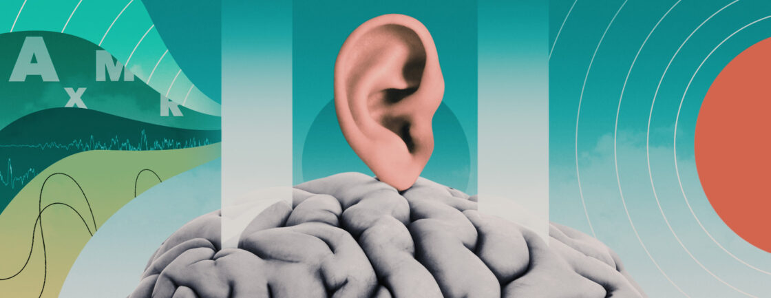 Illustration shows an ear balancing on a brain, surrounded by barriers blocking sound waves