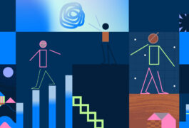 Illustration shows figures of BIPOC navigating a landscape of uncertainty.