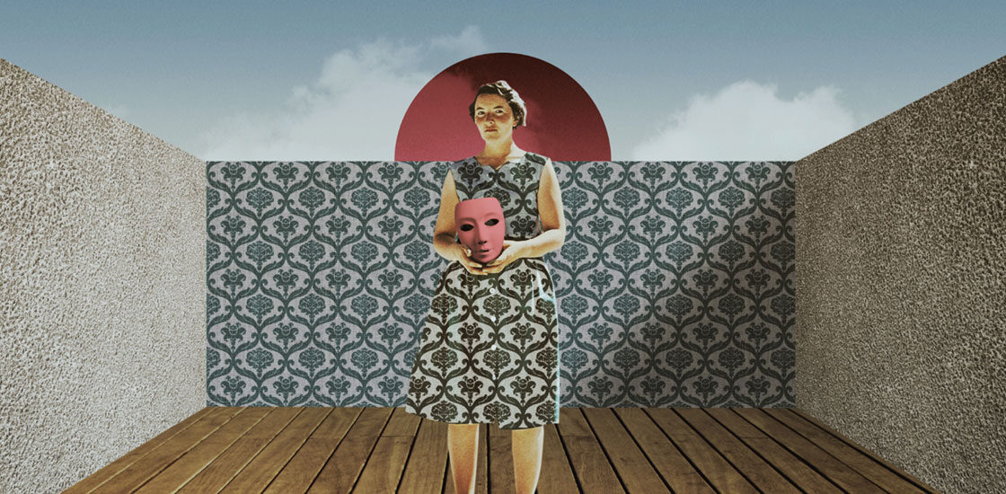 Photo-based illustration shows woman with a dress matching the wallpaper behind her, holding a mask.