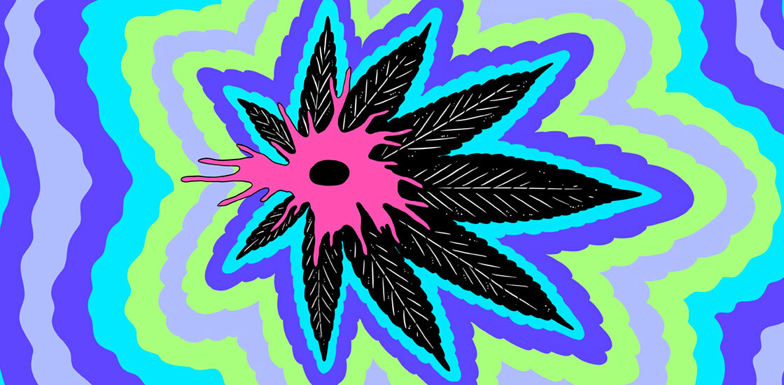 Illustration of a neuron on top of a marijuana leaf surrounded by psychadelic colors.