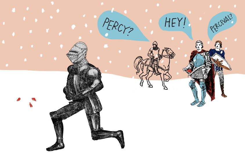 The knight Perceval is utterly taken in by drops of blood in the snow, and his companions cannot get his attention.