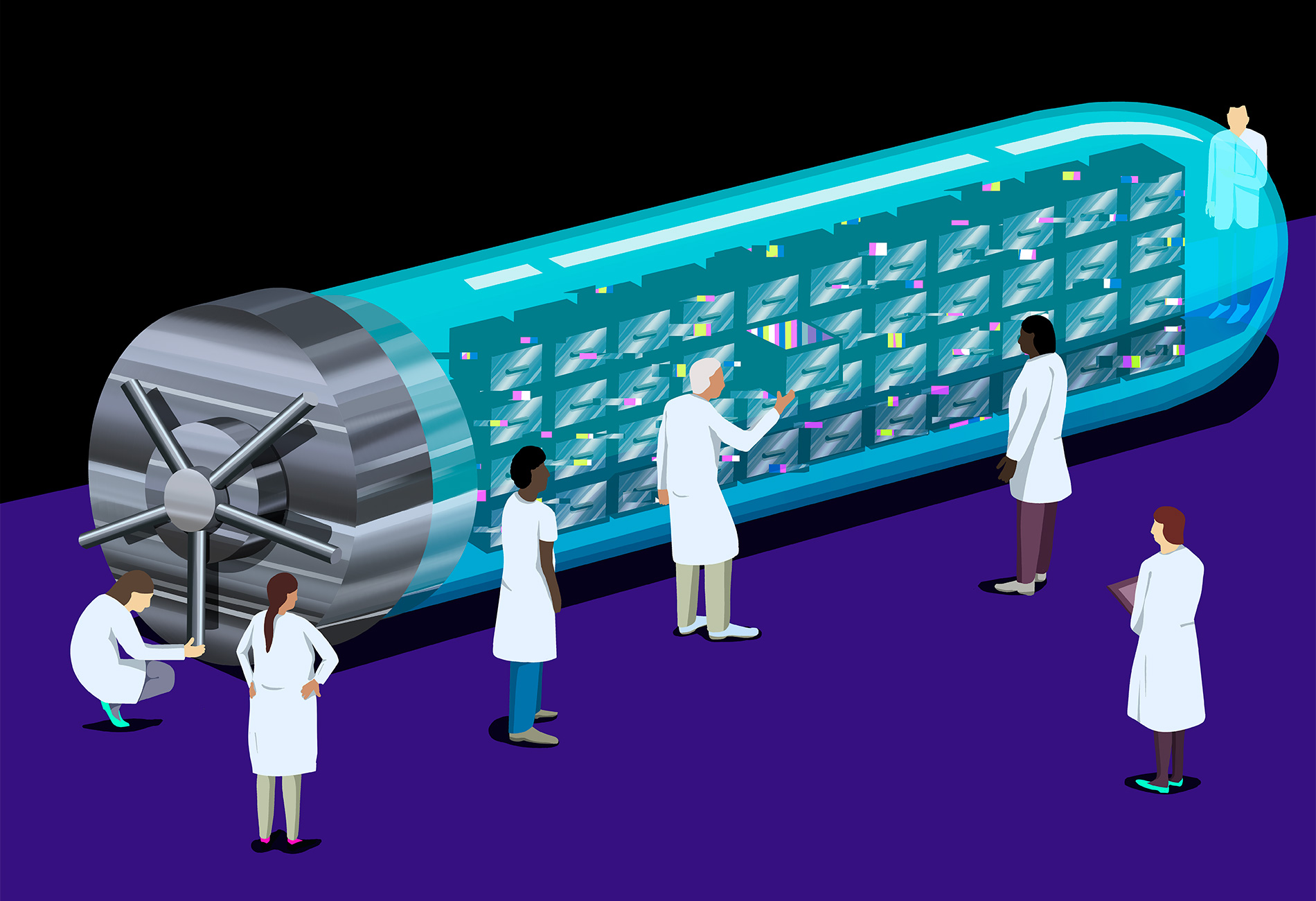 Illustration shows a giant lab vial that is also a safe full of secure records, surrounded by researchers who are accessing the data within.