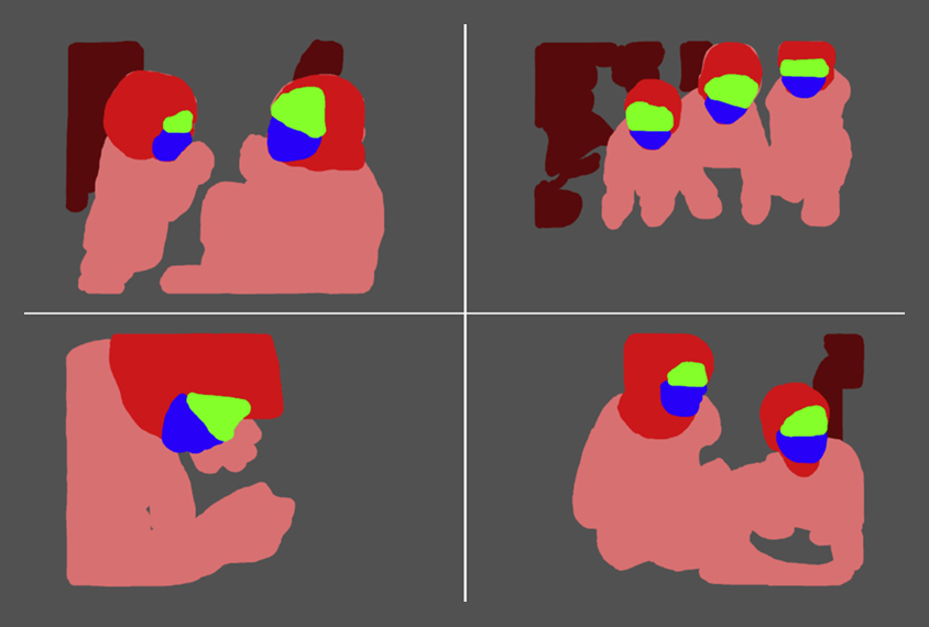 four images show pattern of eye movement