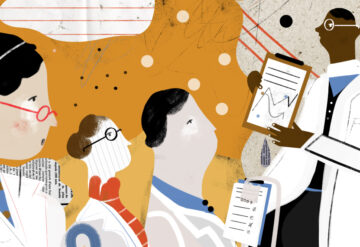 Illustration shows black researchers sharing data with diverse group.