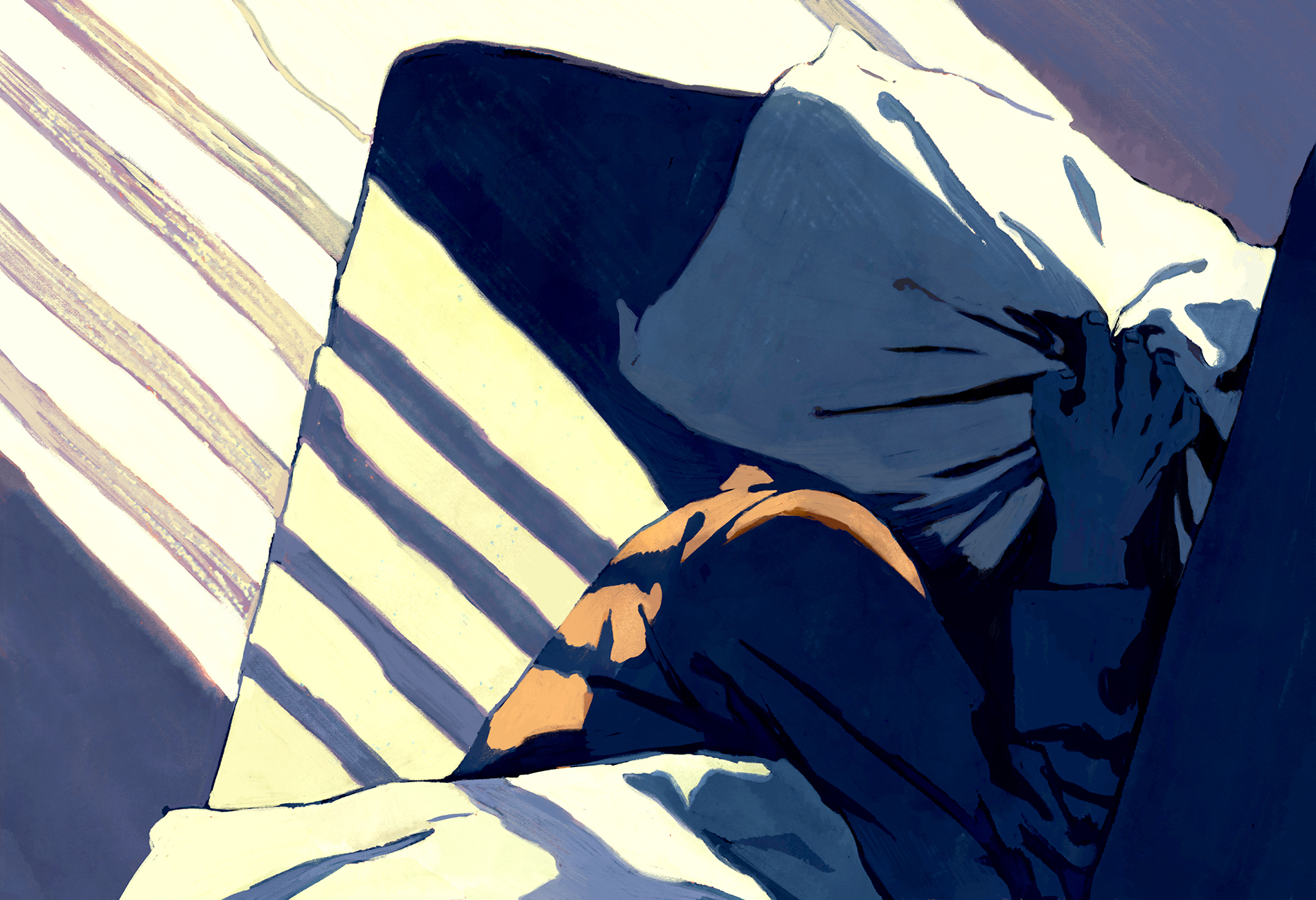 Illustration shows man trying to sleep under bright lights, with a pillow pulled over his head.