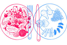 The illustration shows two plates of food, one full of a variety of foods, and another with a few foods arranged in a particular way.