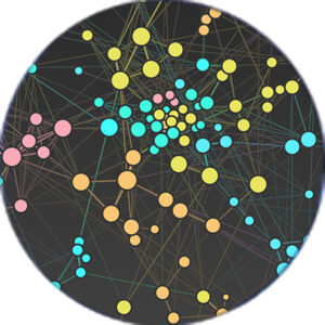 Colorful network of balls and sticks make up this visualization.