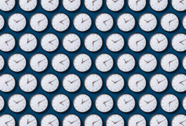 grid of clocks showing different times
