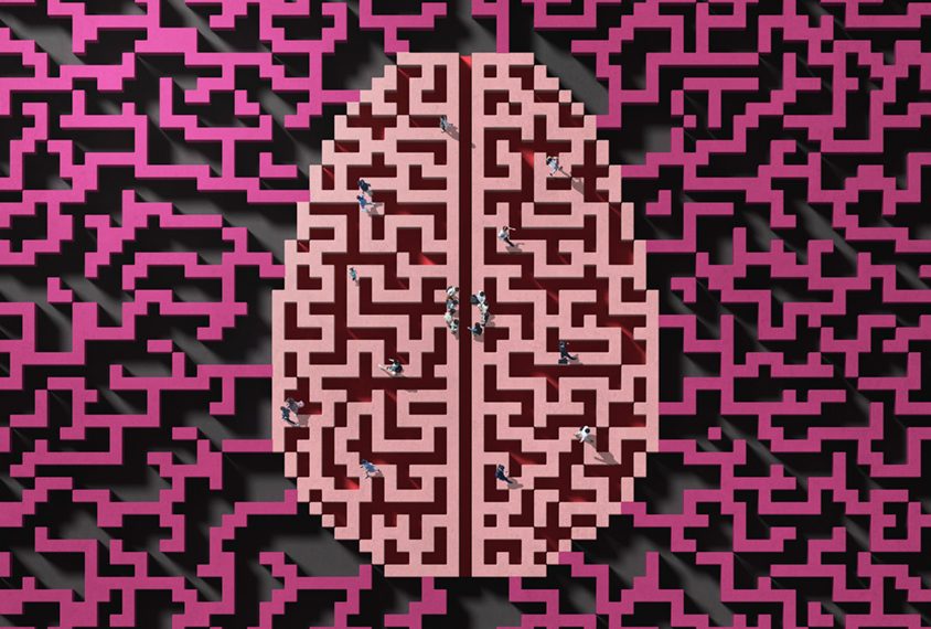 Brain pattern with people gathering