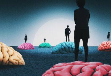 Brains of many colors with people standing on them, coming out of the shadows
