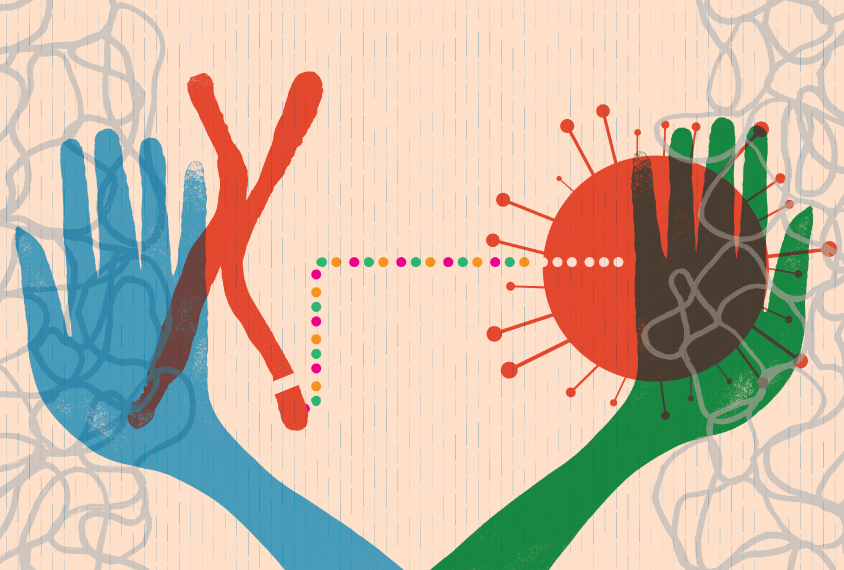 Hands of researcher in two colors, one hand with Fragile X and the other with COIVD shapes connected by multicolored dots.