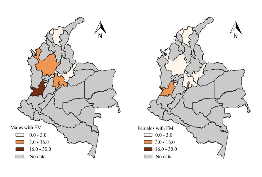 Maps showing incidence of Fragile X in Colombia