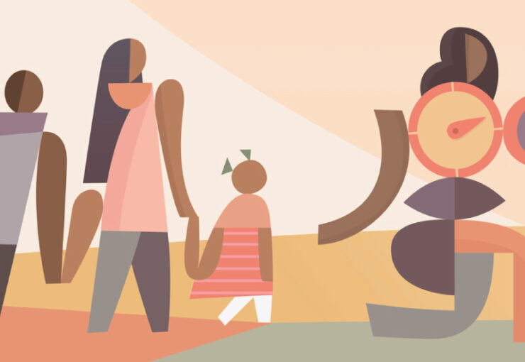Geometric figures in soft palette shows family group following a navigator or guide figure