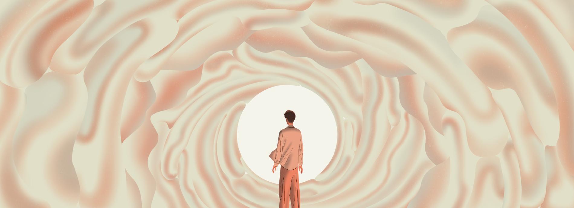 Boy in brain-like tunnel looking towards the light