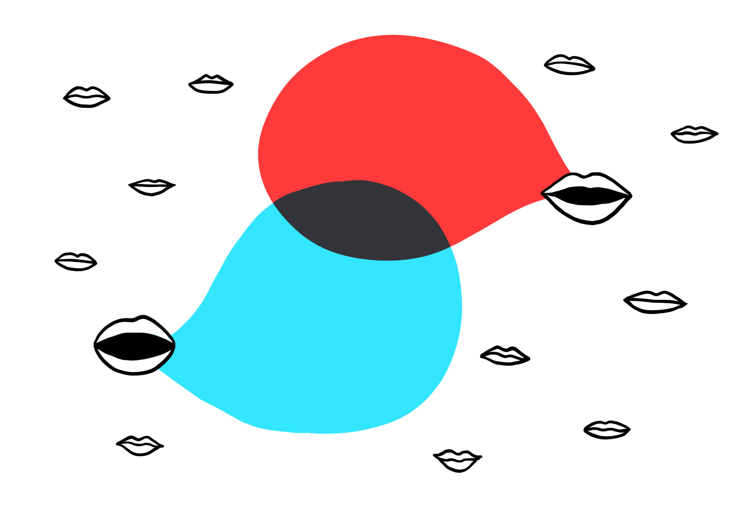 Many mouths making conversation, with speech bubbles in red and blue.