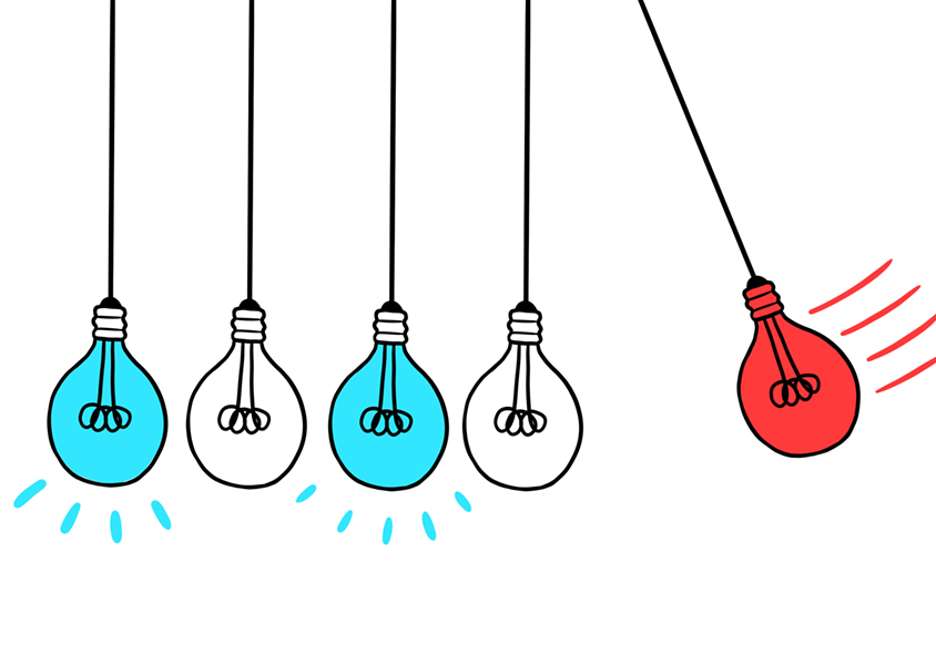 Illustration of hybrid objects: part light bulb, part lab vial, some in blue and some in red to signify null and replicated results