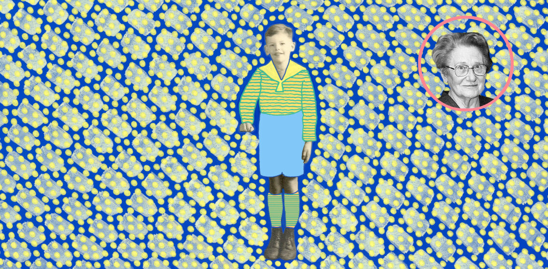 Illustration shows boy in historical photograph with a bright pattern surrounding him.