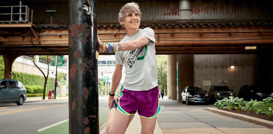 Dr. Elizabeth Berry-Kravis stretching durning a run
