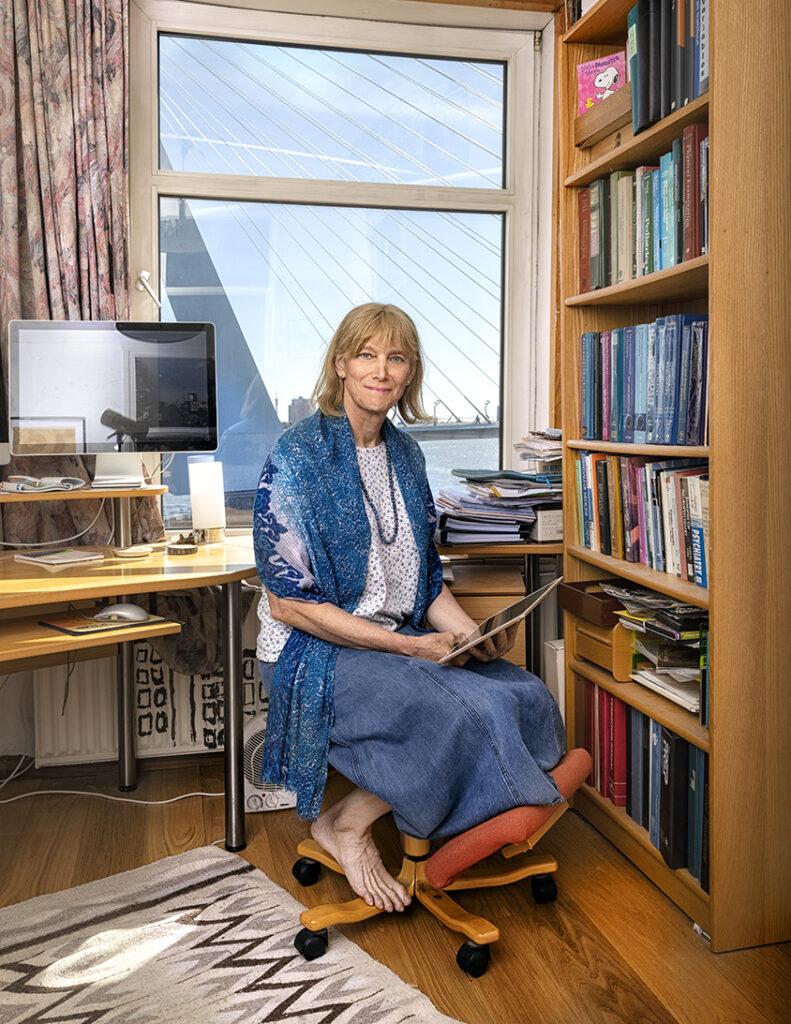 Portrait of scientist Tonya White in her home office, Rotterdam