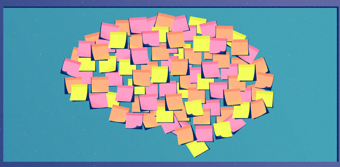 Brain composed of mulit-colored post-its