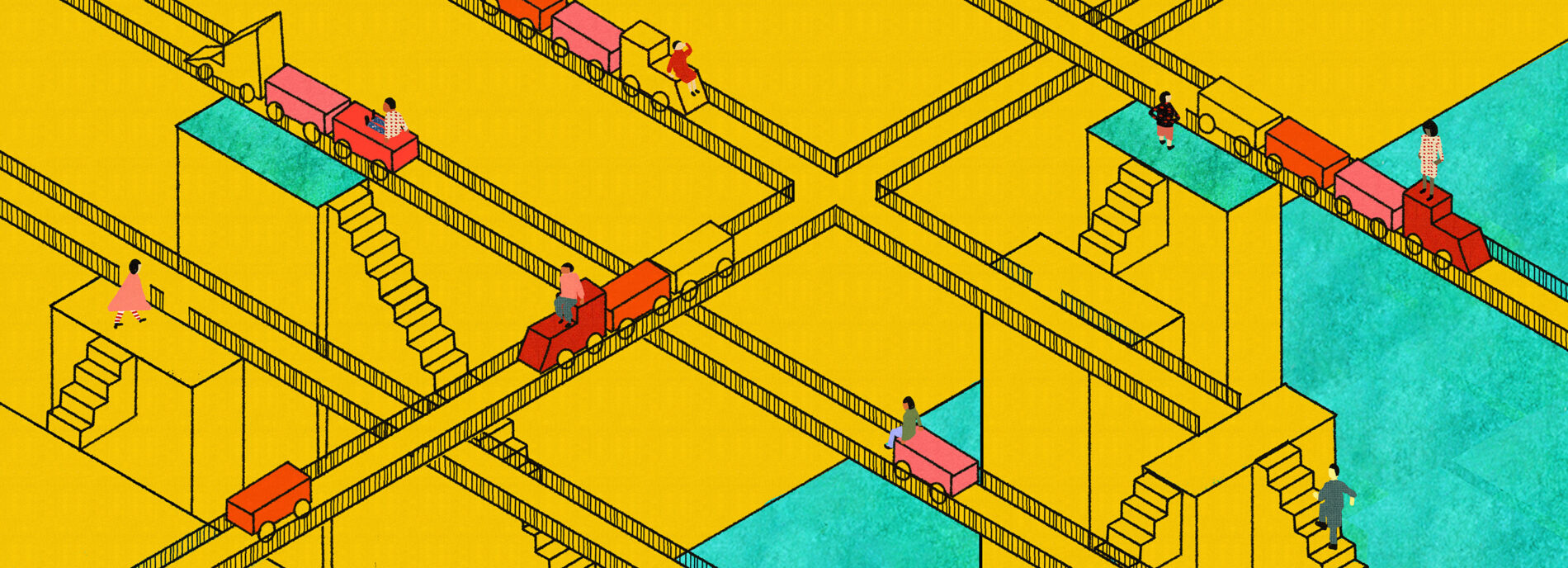 Illustration shows yellow landscape with blue sections and a lot of trains on paths with kids on the trains, going different directions.