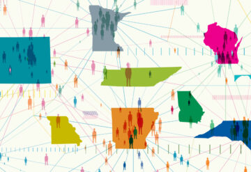 Illustration shows certain states with multiple connections to people and other states