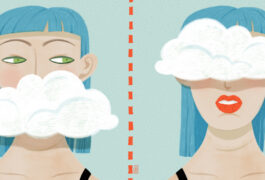 Illustration shows a woman whose mouth is covered by a cloud and whos eyes are covered by a cloud.