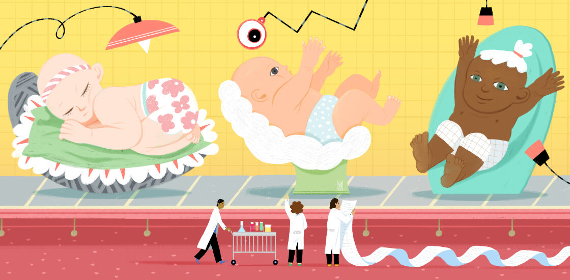 Colorful, playful illustrated scene of newborns on a conveyor belt moving past researchers holding a long, long list.