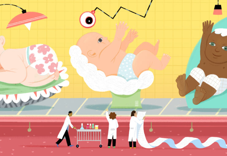Colorful, playful illustrated scene of ewborns on a conveyor belt moving past researchers holding a long, long list.
