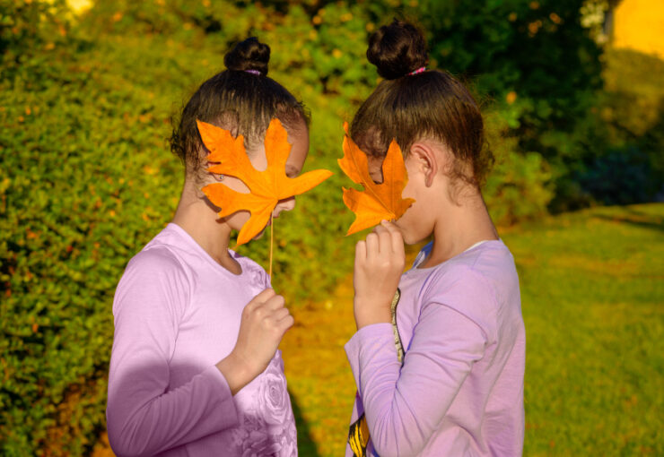 Image shows two young girls, identical twins, covering their faces with leaves while facing each other.
