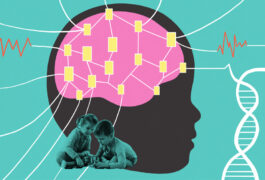 Colorful illustration of child's brain with electrodes connected EEG wave patterns, DNA strand, and playing siblings.