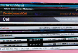 Stack of scientific journals.