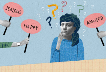 Illustration shows a woman thinking as she is surrounded by signs with feelings on them and question marks.