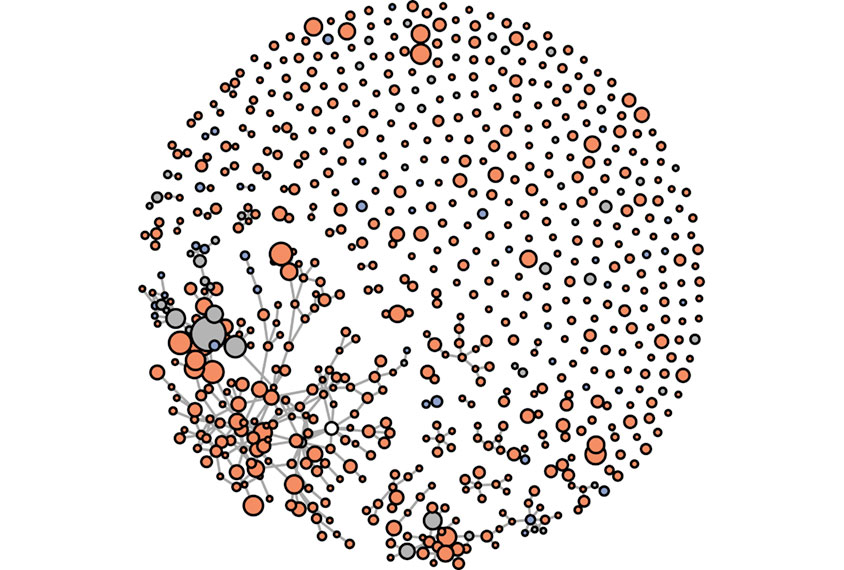 Markov cluster showing protein interactions in mice.