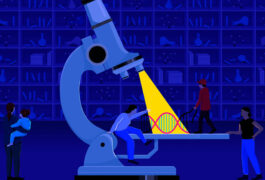 Illustration of large microscope with spotlight on DNA strand representing focus on basic research leaving families in the twilight waiting room.