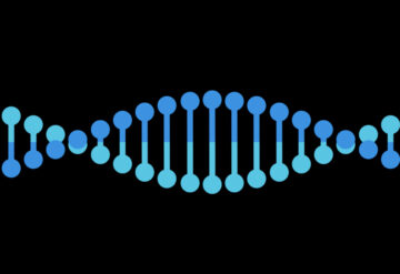 Simple flat color DNA helix in two tones of blue.