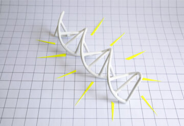 Illustration: a 3D DNA molecule sits on a gridded background, with yellow paper rays arrayed around it.